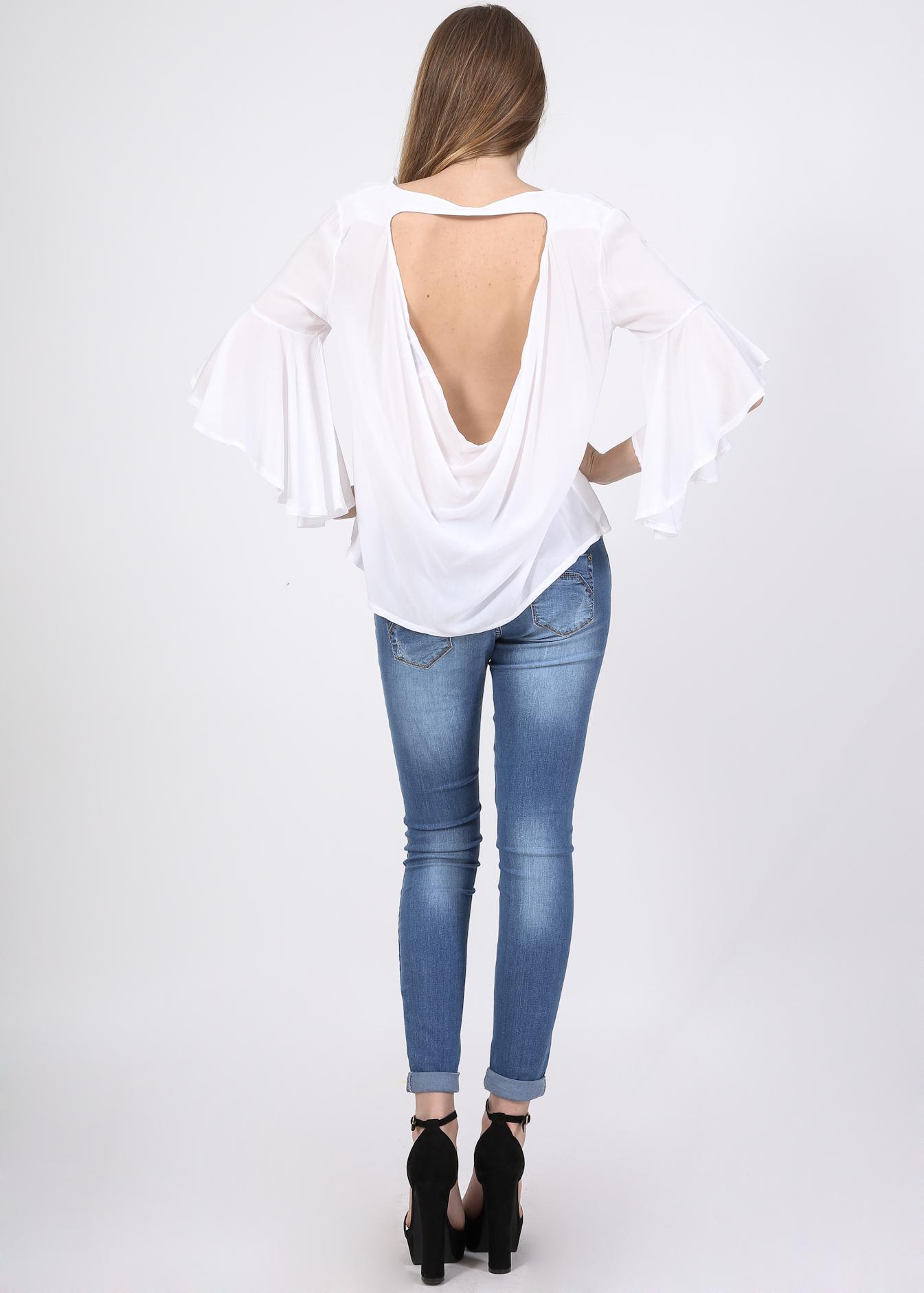 Chloe open back μπλούζα, λευκό ρούχα