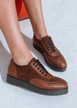 Arte Piedi Bonie Γυναικεία Oxford Παπούτσια Μοκασίνα, Καφέ