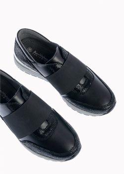 Arte Piedi Ana Δερμάτινο Αθλητικό Sneaker με Λάστιχο σε Μαύρο