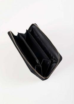 Fern Πορτοφόλι με Πλέξη και Φερμουάρ, Μαύρο