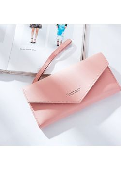 Dash Πορτοφόλι με Εξωτερική Θήκη με Φερμουάρ, Ροζ