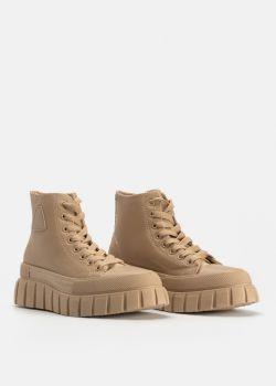 Arte Piedi Symone Γυναικεία Αθλητικά Παπούτσια Sneaker Μποτάκια, Μπεζ Σκούρο