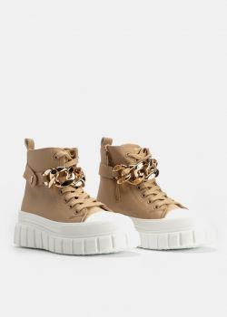 Arte Piedi Aisha Γυναικεία Sneaker Μποτάκια με Χρυσή Αλυσίδα, Μπεζ
