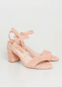 Mira Glitter Δερμάτινο Barely There Πέδιλο | Baby Pink