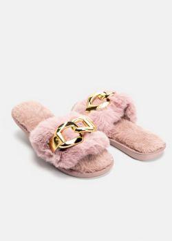 Vilma Γούνινες Παντόφλες με Αλυσίδα, Dusty Pink