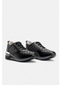 Lily Ανατομικά Δερμάτινα Sneaker Aerostep 203124, Μαύρο