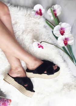 Milla Γούνινη Flatform | Μαύρο