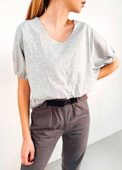 Emmy Μπλουζάκι V-Neck Cropped, Γκρι