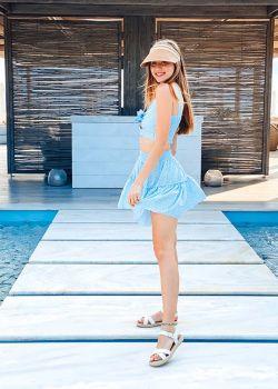 Maya Σετ 2pcs, Φούστα με Crop Τοπ, Γαλάζιο