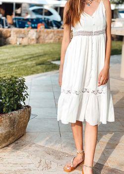 Rita Φόρεμα Μίντι, με Τιράντες, Λευκό