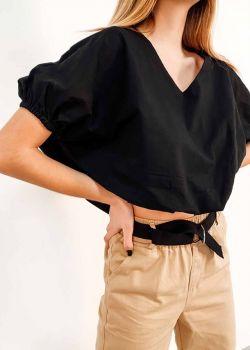 Emmy Μπλουζάκι V-Neck Cropped, Μαύρο