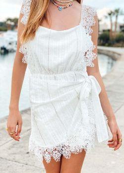 Draga Φόρεμα με Δαντέλα και Ανοιχτή Πλάτη, Λευκό