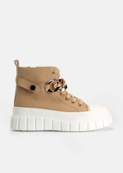 Aisha Sneaker Μποτάκια με Χρυσή Αλυσίδα, Μπεζ